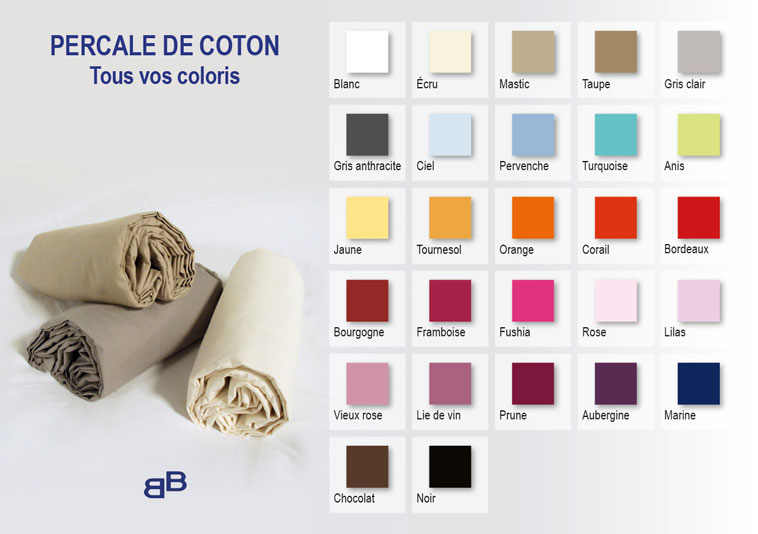 Drap housse 120x200 bonnet 30 cm percale de coton - Drap housse grand bonnet 30 cm ...